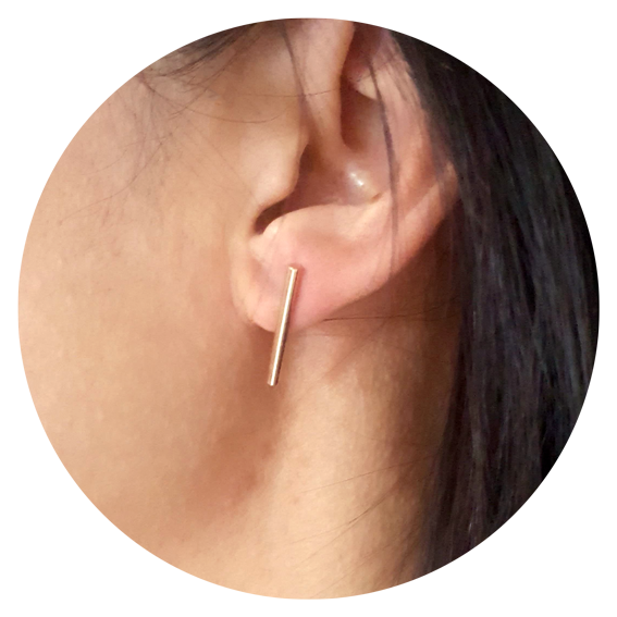 round bar stud earrings - 9ct gold - single or pair