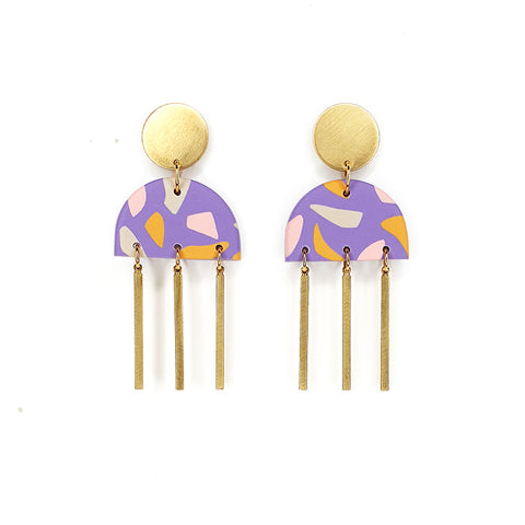 HAZEL - polymer clay & brass earrings - purple terrazzo