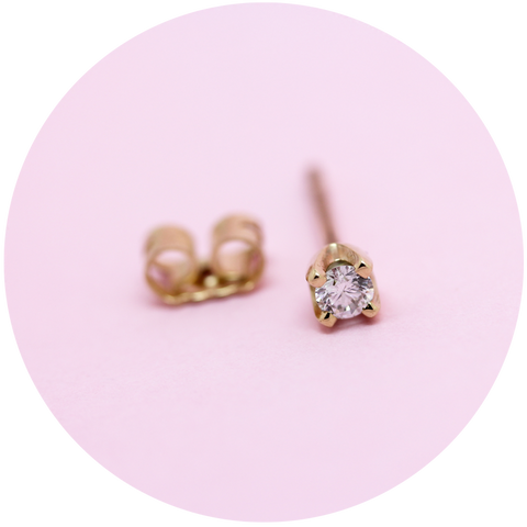 diamond stud earrings - 9ct gold - single or pair