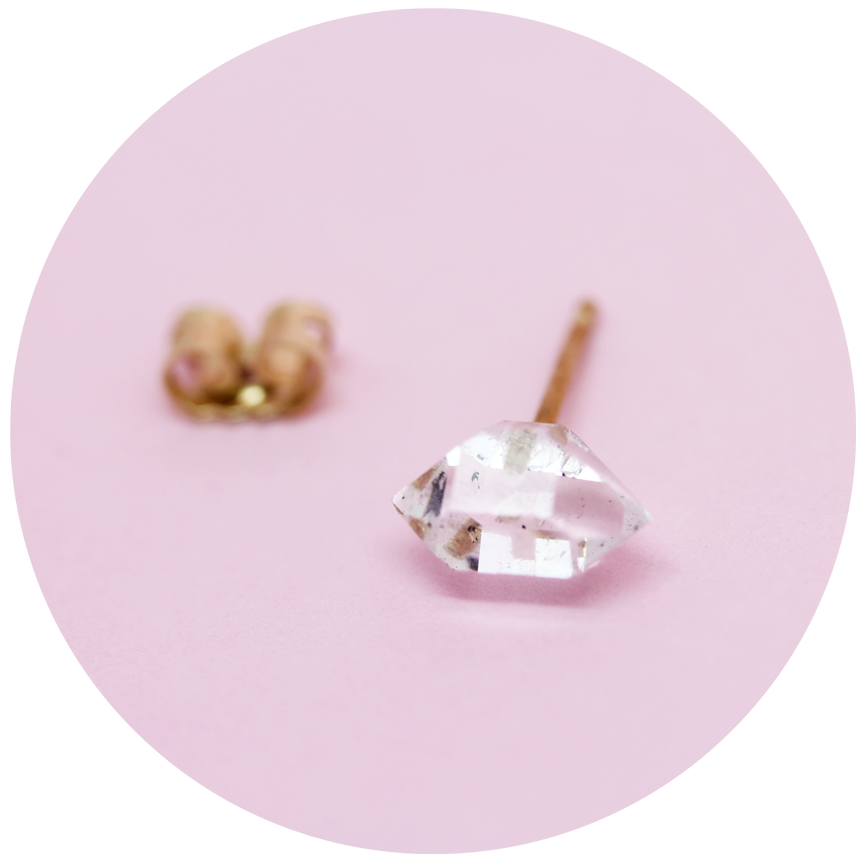 herkimer stud earrings - 9ct gold - single or pair