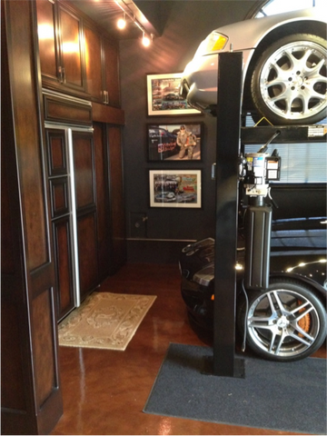 garage inside with car. We Came Up With The Idea Of Making It Look Like Inside A Car Incorporating Beautiful Burl Wood, Leather And Satin Finished Metals. Garage