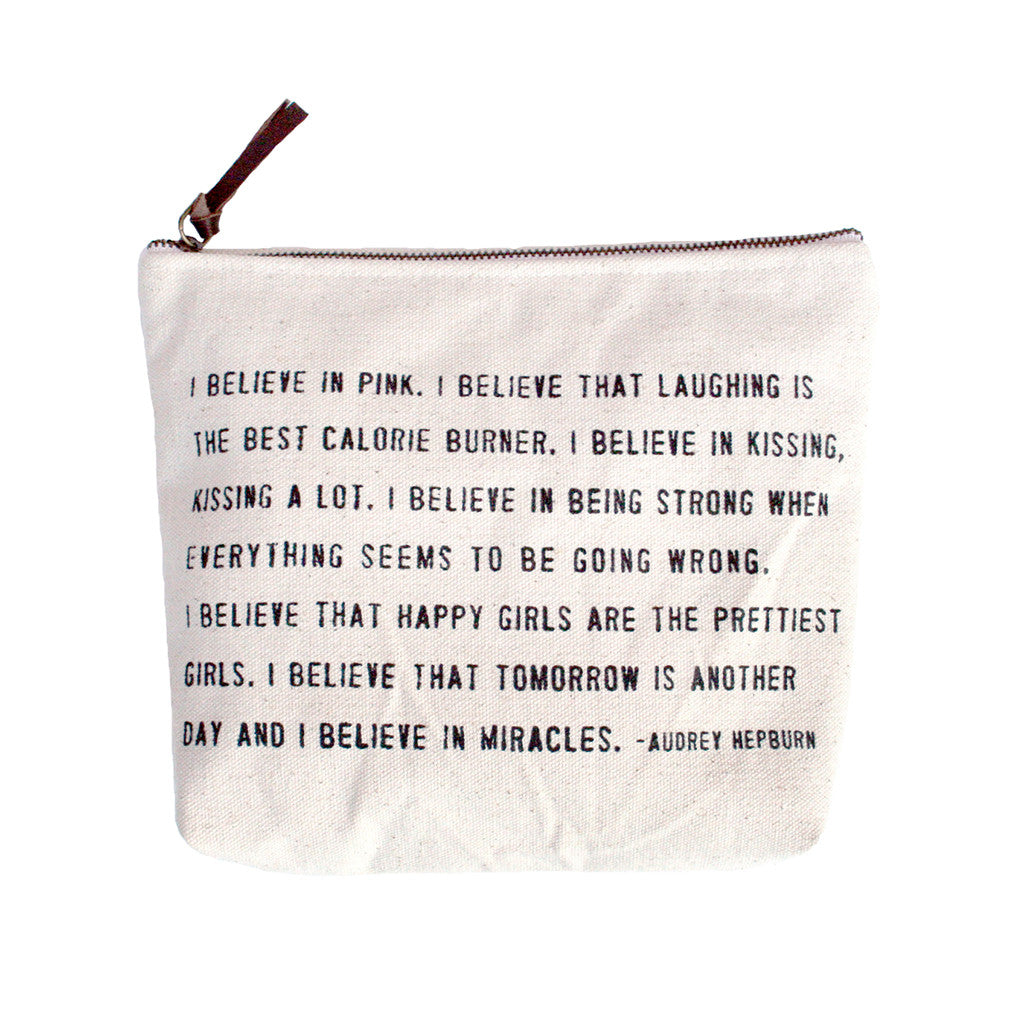 "Canvas Zipper Bags ""I believe in Pink"""