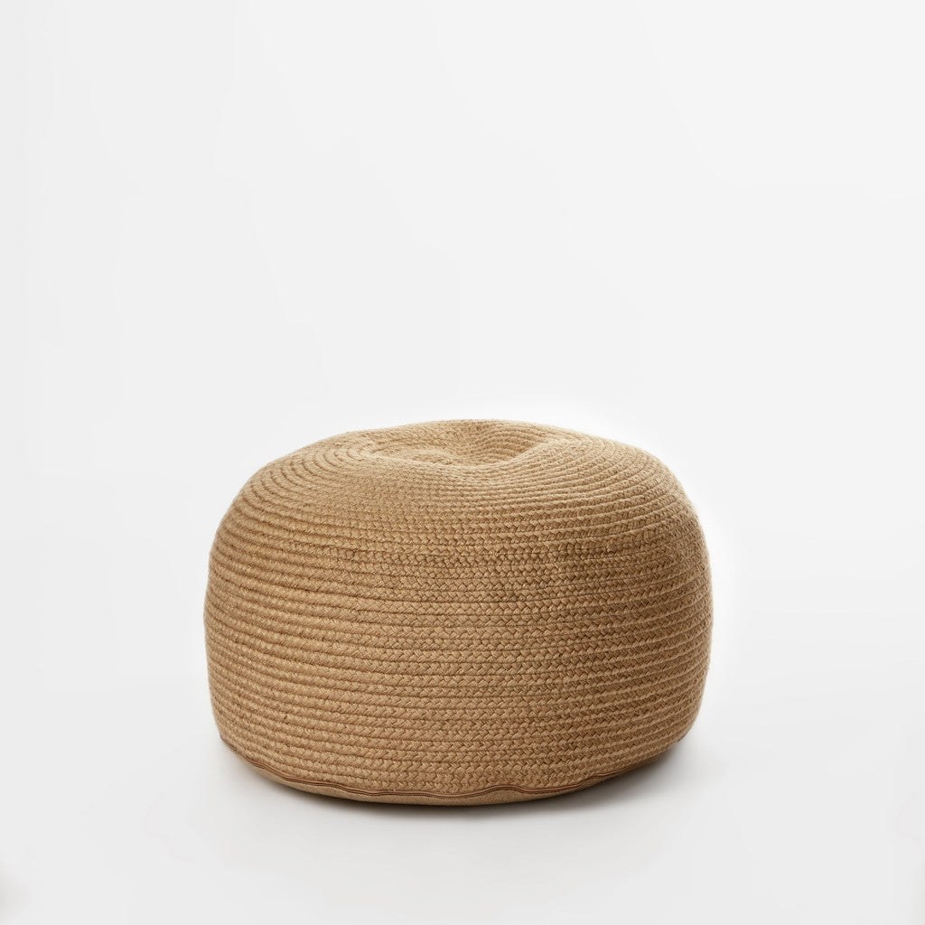 Braided Natural Pouf-2