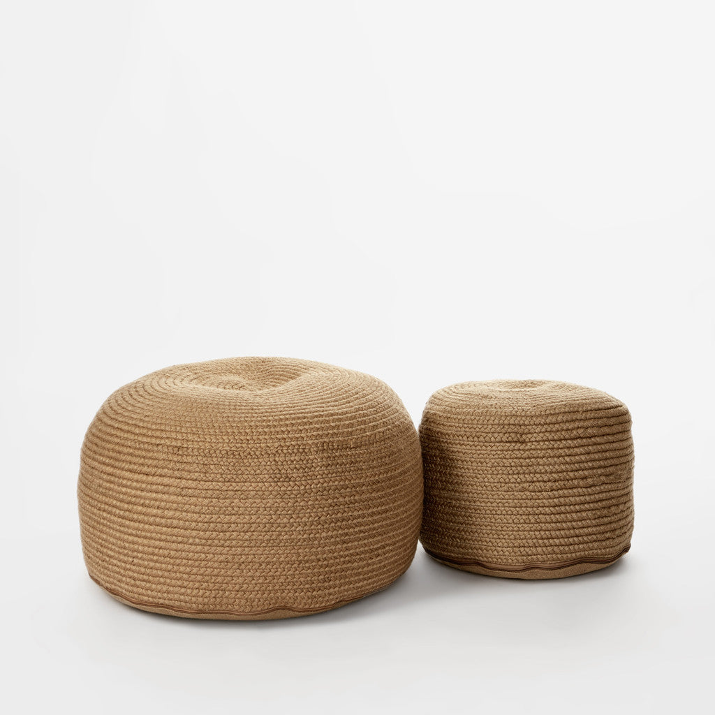 Braided Natural Pouf-1