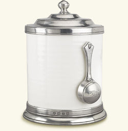 Ceramic & Pewter Canister with Spoon