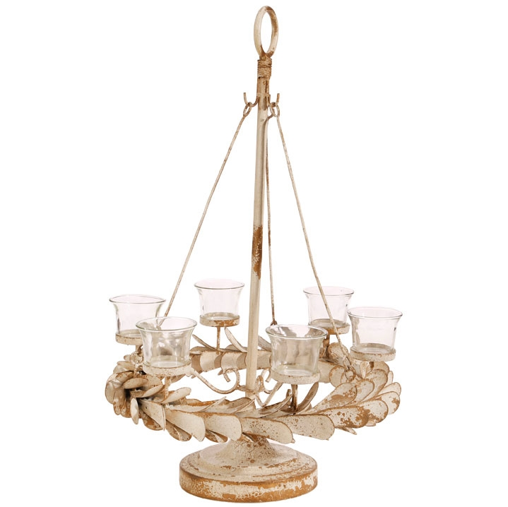 Tea Light Candelabra - Light Distressed-1