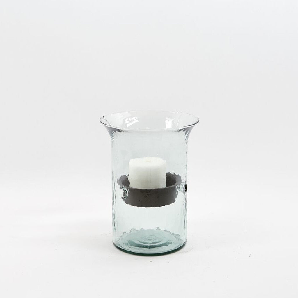 Glass Hurricane with Metal Candle Holder Insert - Small