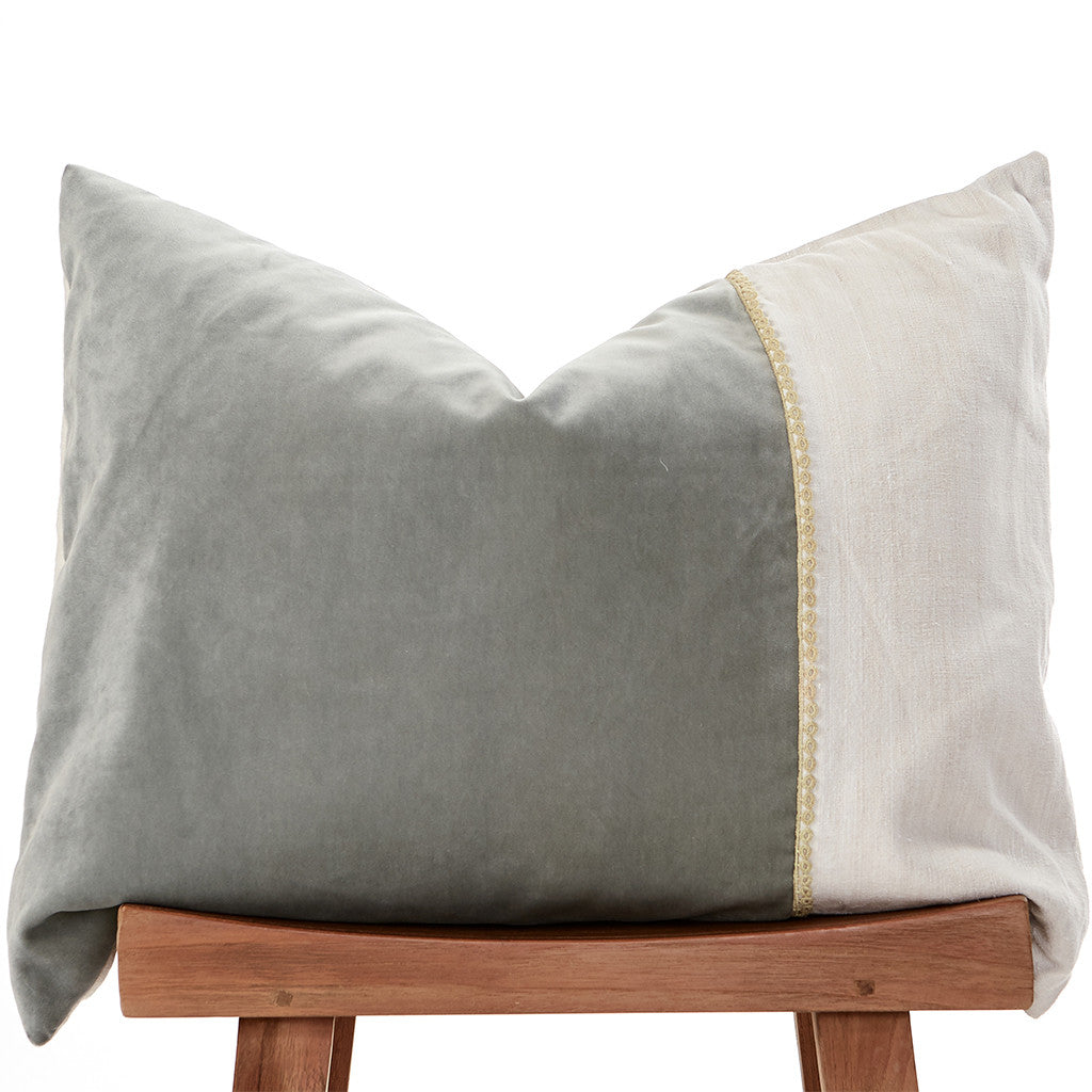 Grey Velvet Pillow-1