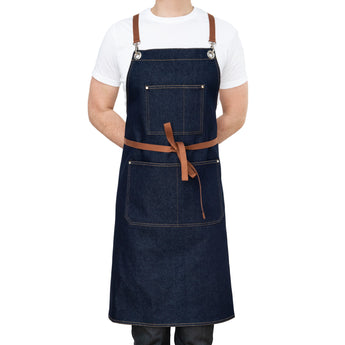 Blue Denim Chefs Apron with Pockets Front