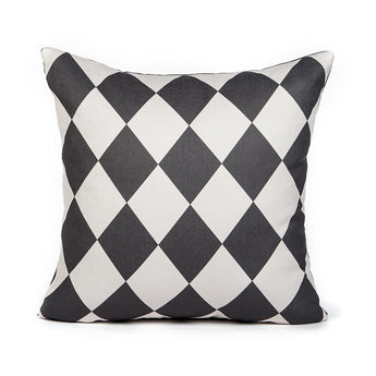 Cream & Gray Checkered Pattern Accent Throw Pillow