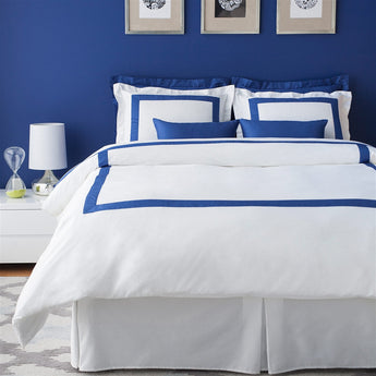LaCozi Hotel Collection Royal Blue Border White Cotton Sateen Duvet Cover Set