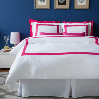 LaCozi Hotel Collection Hot Pink Border White Cotton Sateen Duvet Cover Set