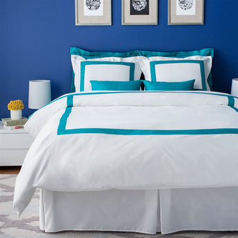 LaCozi Hotel Collection Teal Turquoise Border Trim White Sateen Cotton Duvet Cover Set