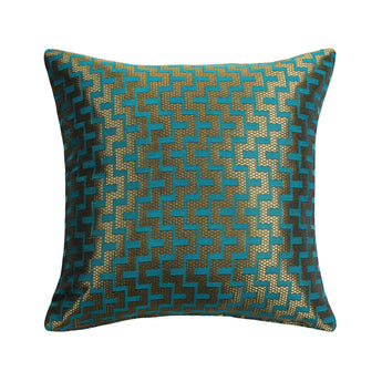 Mazy Gold Turquoise Throw Pillow