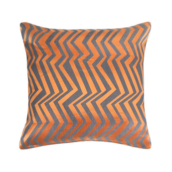 Charcoal & Orange Ziggy Throw Pillow