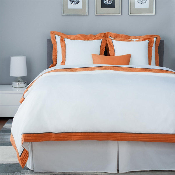 LaCozi Cotton Sateen Hotel Style Persimmon Gray Pintuck Duvet Cover Set