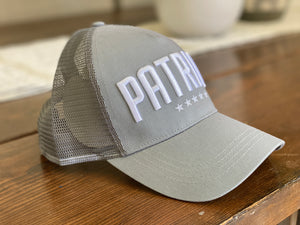 PATRIOT* Hat Grey w/American Flag Patch