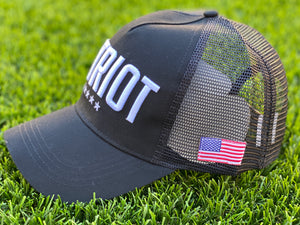 PATRIOT* Hat BLACK w/American Flag Patch - PREORDER