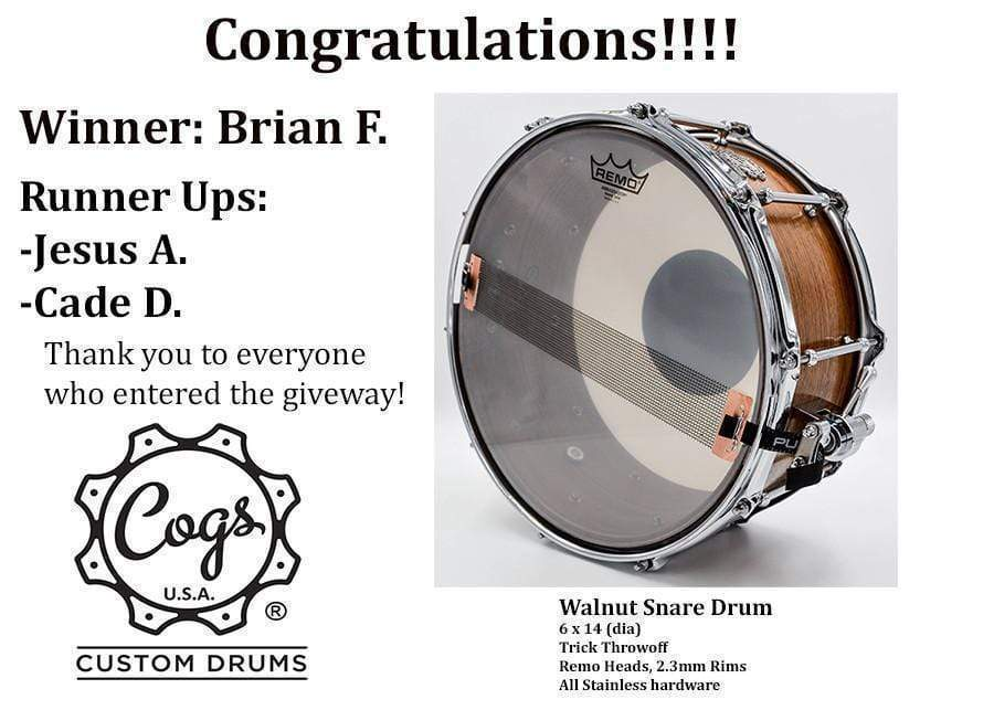 Congrats to the Snare Drum Giveaway Winner!