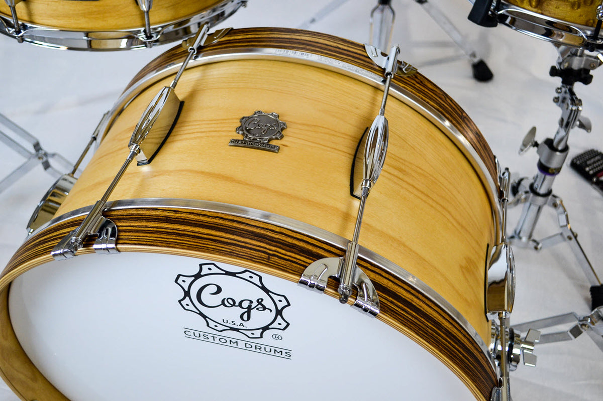 Cogs Custom Drums Maple Zebrawood Drum Set