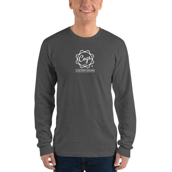 Classic Cogs Long Sleeve White Logo - Cogs Custom Drums