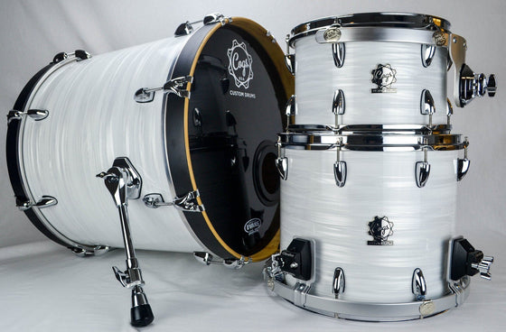 White Strata 3 Piece Drum Kit - Cogs Custom Drums