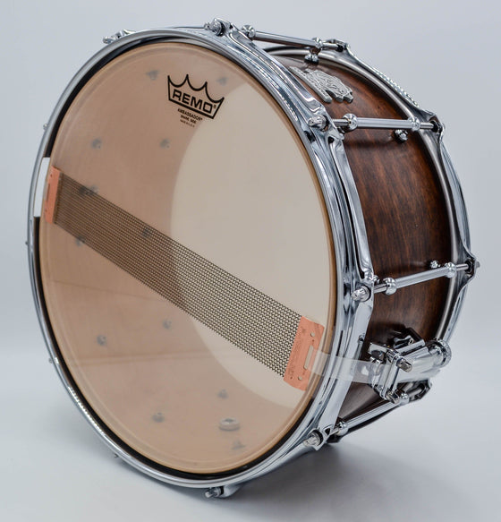 Cogs SuperSix™ Brown Satin Snare Drum - Cogs Custom Drums LLC
