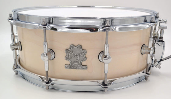 Cogs SuperSix™ White Satin Snare - Cogs Custom Drums LLC