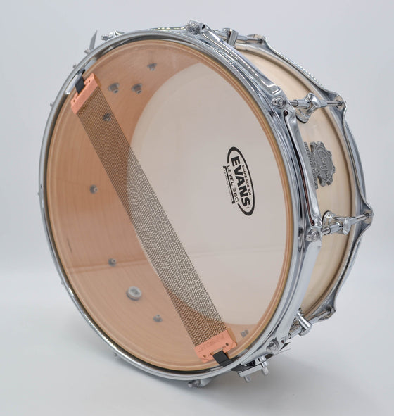Cogs SuperSix™ White Satin Snare - Lefty - Cogs Custom Drums LLC