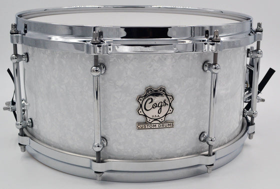 White Pearl Snare - 13 X 6.5 - Cogs Custom Drums