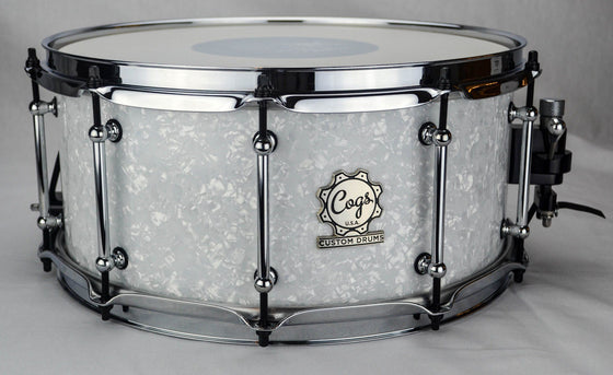 White Pearl Snare - 14 X 6.5 - Cogs Custom Drums