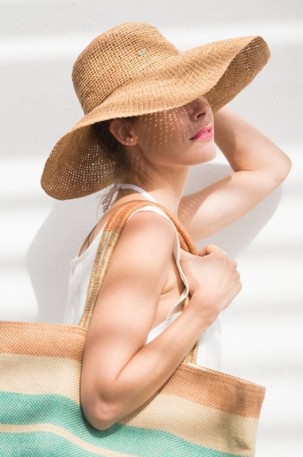 Hat made from raffia - wide brim - beige - Princess Bora