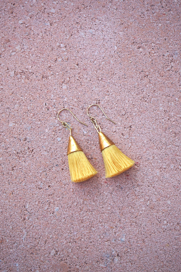 Earrings with tassels - small - yellow - Sophia