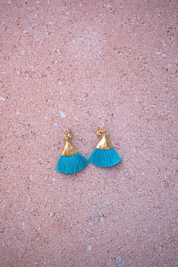 Earrings with tassels - flat - turquoise - Evie
