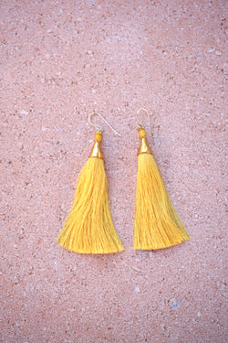 Earrings with tassels - long - yellow - Isla