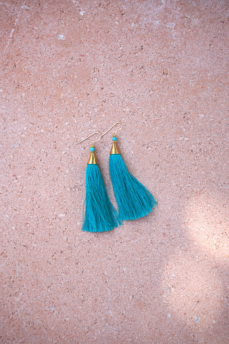 Earrings with tassels - long - turquoise - Isla