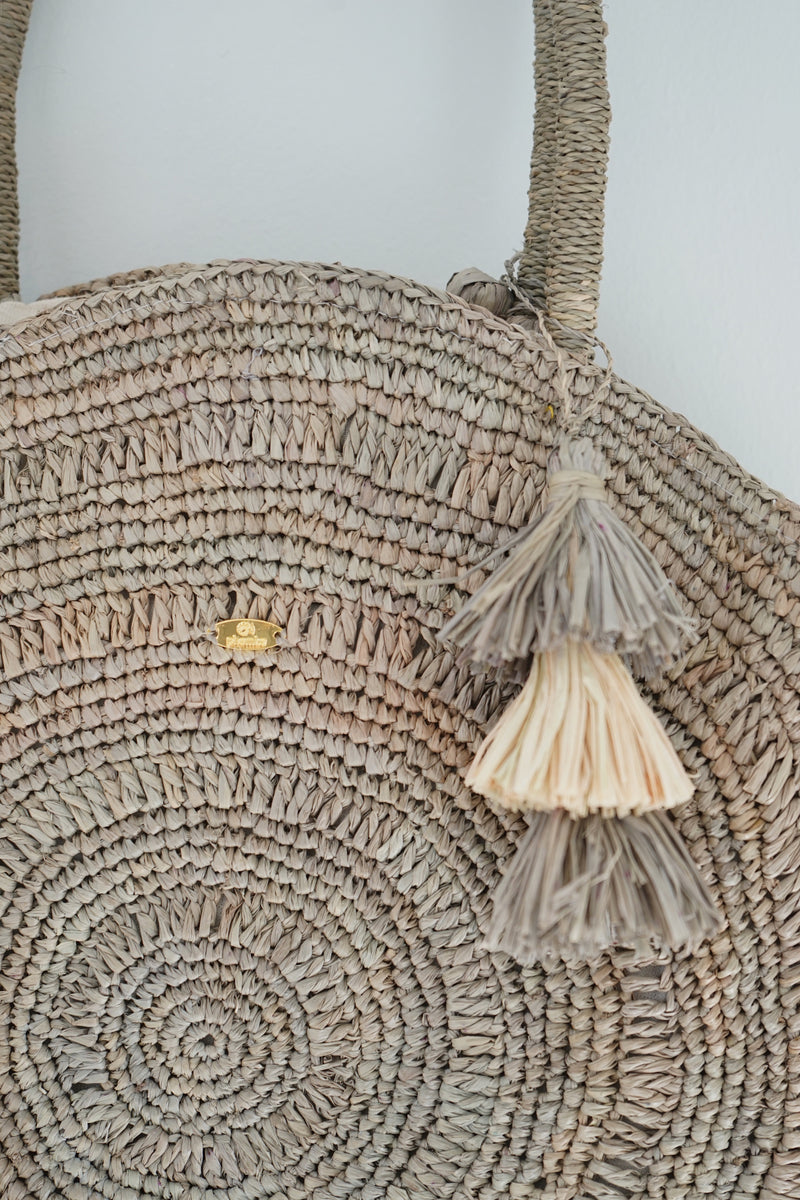 Raffia tote - round - Miangaly - Greenish grey