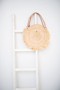 Raffia round tote with leather handle - Eva - natural colour