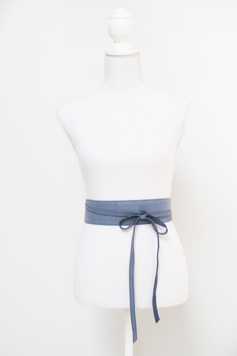 Wrap around waist belt - camel leather - blue