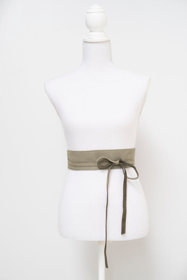 Wrap around waist belt - camel leather - olive