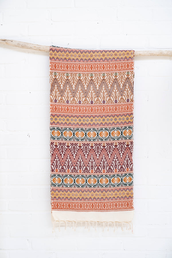 Scarf - 100% cotton - handwoven in Guatemala - Red/Brown