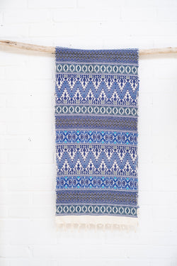 Scarf - 100% cotton - handwoven in Guatemala - Blue/turquoise