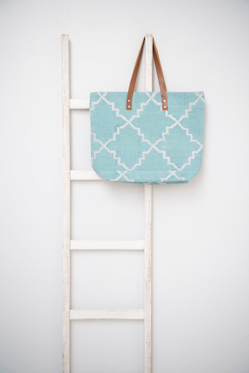Dhurrie tote - Turquoise with Silver