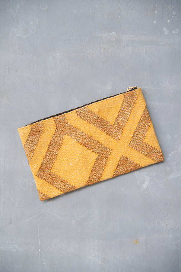 Dhurrie clutch - Gold and Yellow