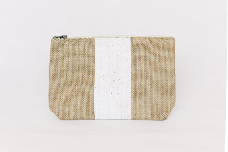 Jute clutch - with white stripe