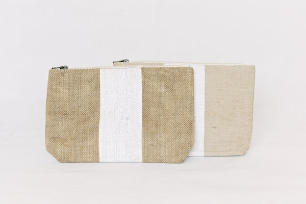Pouch - jute with white stripe