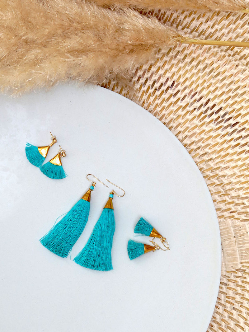 Earrings with tassels - small - turquoise - Sophia