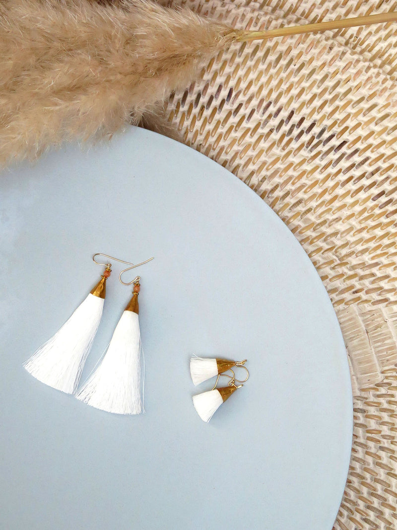 Earrings with tassels - small - white - Sophia