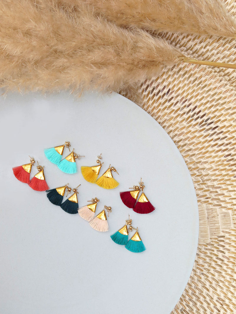 Earrings with tassels -flat - red - Evie