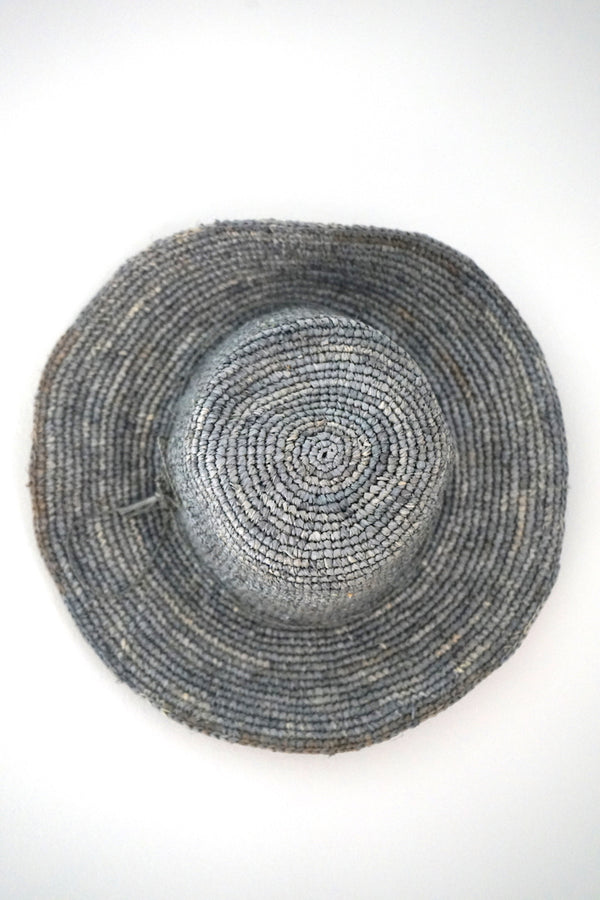Hats - medium brim - made from straw - grey